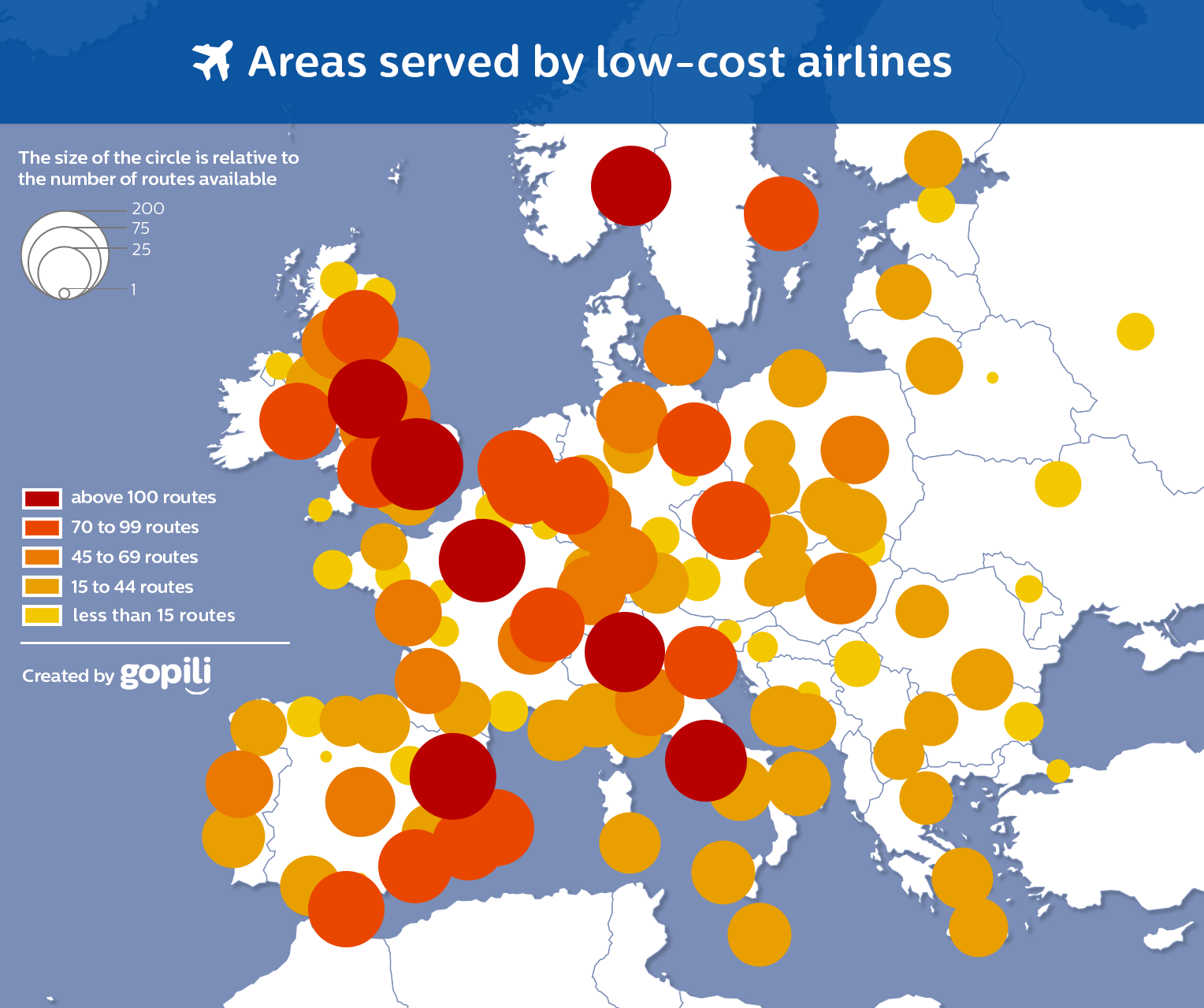 Areas served by low cost airlines